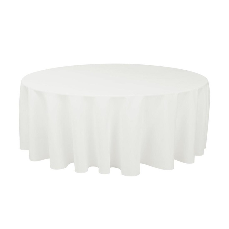 Round Economy Polyester Tablecloth White For Weddings