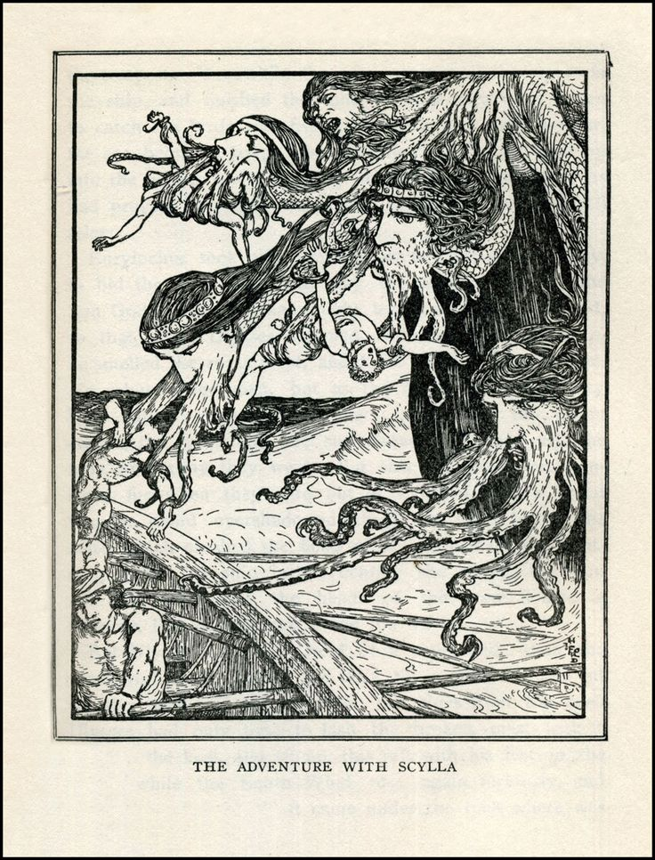 H.J. Ford - Scylla devouring Odysseus' crew -  Tales of Troy and Greece - 1910
