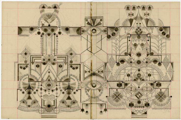 Louise Despont, drawings on antique ledger paper