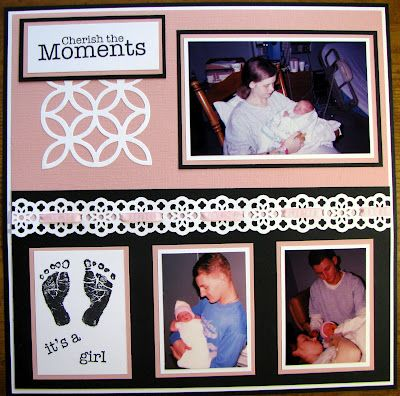 Stacy's Stampin' Spot: Double Page Baby Girl Scrapbook Layout
