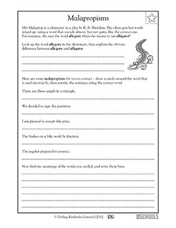5th grade Writing Worksheets Malapropisms 5th grade