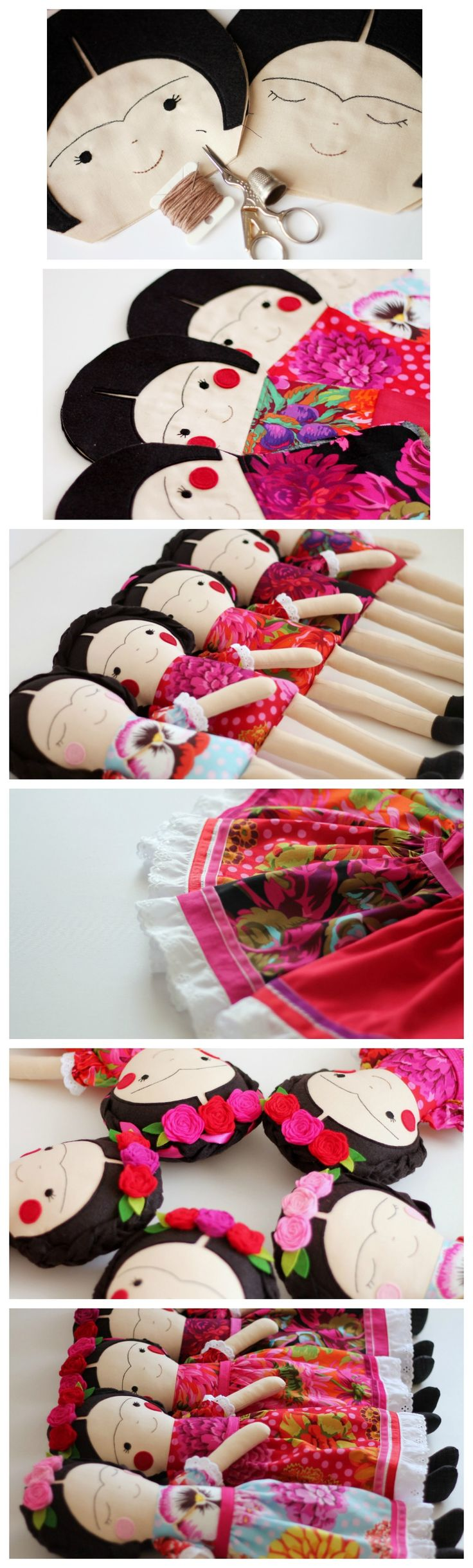 The making of Frida Kahlo handmade dolls by Anabela Félix. Heirloom and collectible dolls.