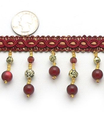 """2 1/4"""" Dangling Beaded Trim - Ruby 
