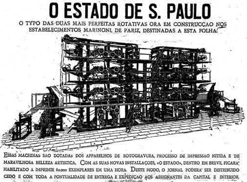 No dia 5 de janeiro de 1926, o Estadão apresentava aos leitores a nova máquina de impressão de rotogravuras, um processo que permitia publicar imagens mais nítidas a uma velocidade de até 80 mil exemplares por hora. http://blogs.estadao.com.br/reclames-do-estadao/2010/05/04/55/