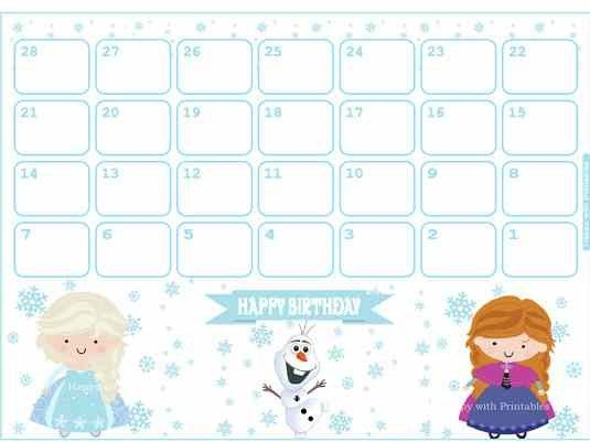 Best  New Year Printable Frozen Monthly Calendar Images On