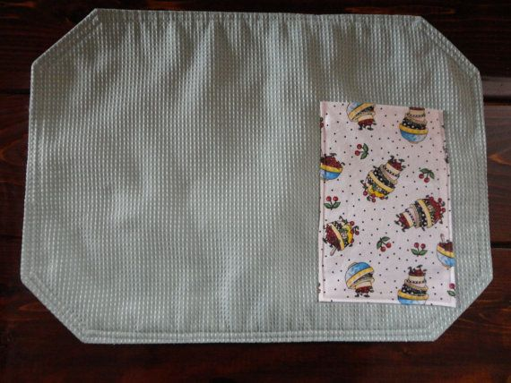 Light Green Placemats with Cherry Patterned by MrsGuysTreasures