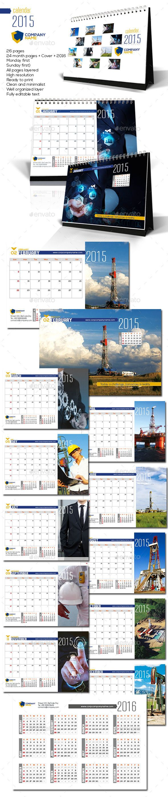Corporate Desktop Calendar 2015 #graphicriver