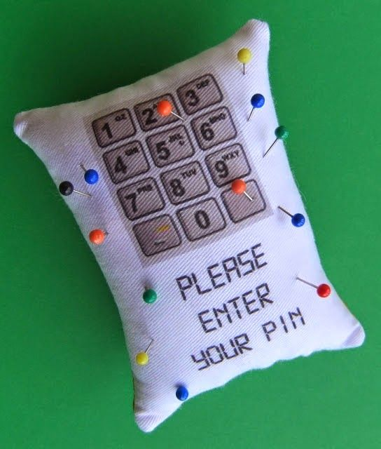 Fun pincushion with free template and instructions on my blog http://elowezil.blogspot.co.nz/2014/10/please-enter-your-pin.html