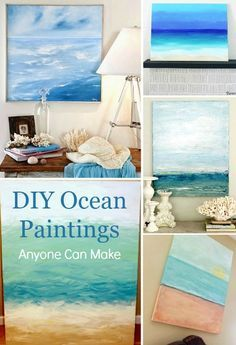 DIY Ocean Painting Tutorials   Paintings Anyone Can Make: http://www.completely-coastal.com/2014/07/diy-abstract-sea-painting.html