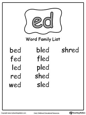 ed word family list phonics english and school. Black Bedroom Furniture Sets. Home Design Ideas