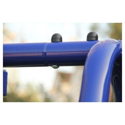 Sportspower Mountain View Metal Swing, Slide, and Trampoline Set - Blue/Yellow,