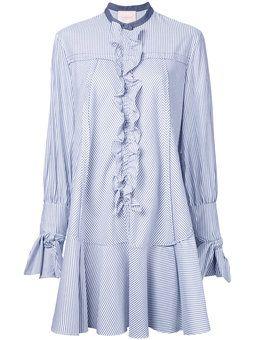 ruffled trim striped shirt dress
