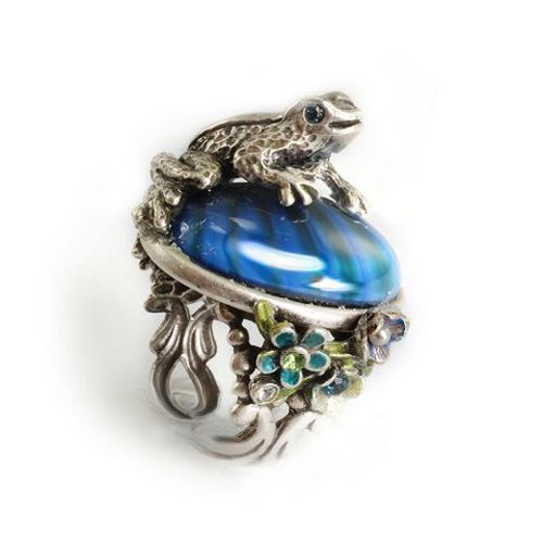 Vintage Inspired Rings By Ollipop - Silver And Blue Frog Ring - Unique Vintage - Homecoming Dresses, Pinup & Prom Dresses.