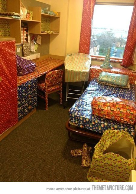 I think this will be this year's prank!  This would be hilarious to do to the kids' rooms while they are at school!