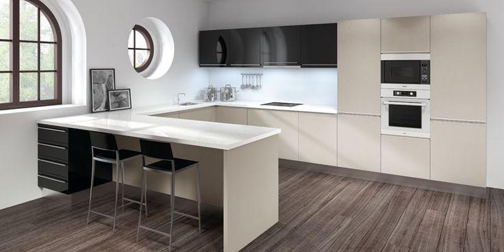Cocinas dise o de cocina lacada en blanco con forma de u - Cocinas pequenas en forma de u ...