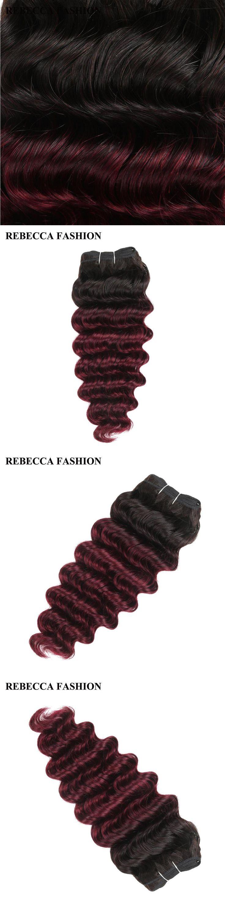 Rebecca remy Human Hair Brazilian Deep Wave Hair Weave 1 Bundle  Ombre wine red Salon Hair T1b99j High Ratio longest Hair PP 40%