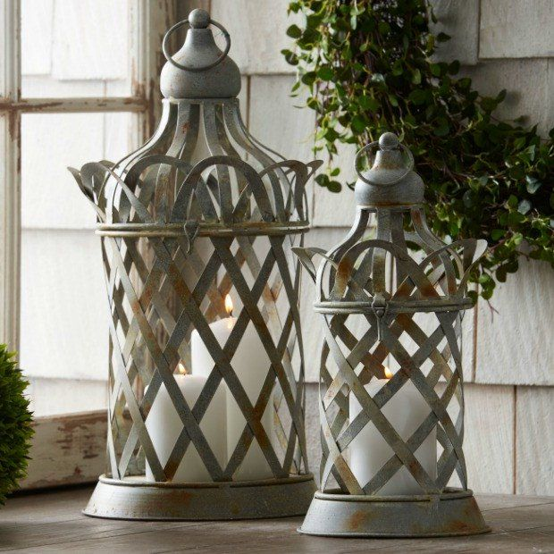 Lattice Detailed Metal Storage Container, Set of 2