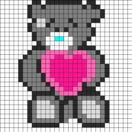 Tatty Teddy Perler Bead Pattern | Bead Sprites | Characters Fuse Bead Patterns