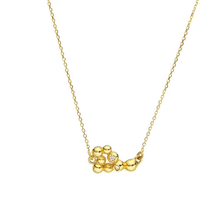 Yellow gold necklace with brilliants #huffyjewels www.huffyjewels.com