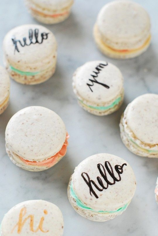 """Typography Macarons...so cute and the ingredient list is short, though they're famously hard to make """"right"""""""