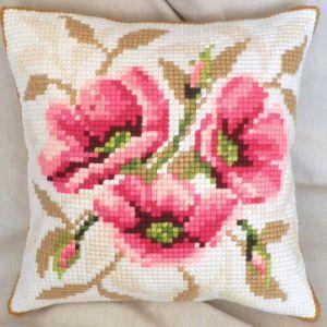 Wild Roses cross-stitch cushion