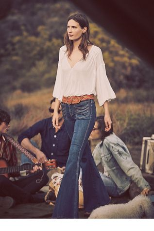 Free People Stella High Rise Flare Jeans, Free People Peaks Island Top and  Linea Pelle Donna Braided Belt