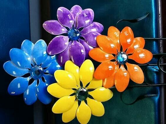 Plastic Spoon Crafts Spoons Art Arts And Recycle Spring Yard Ideas Craft Projects Project