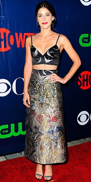 Last Night's Look: Love It or Leave It? Vote Now! | LIZZY CAPLAN | in a two-piece embroidered Valentino ensemble and metallic heels at CBS's Summer TCA party in West Hollywood.
