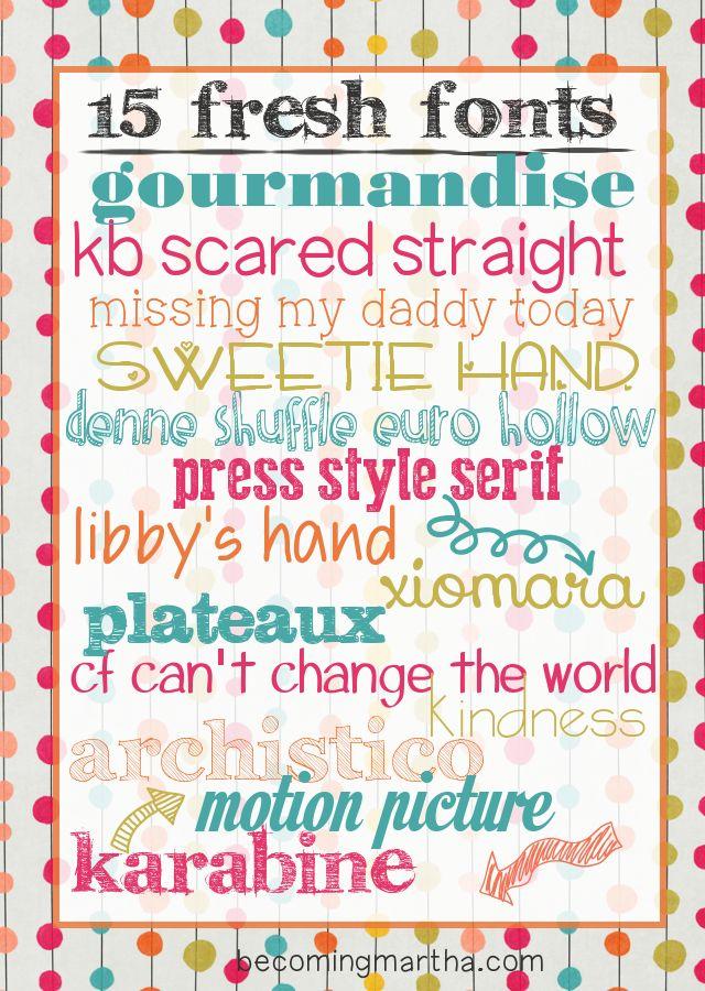 15 Fresh Free Fonts | Becoming Martha {w/ link to dafont.com}