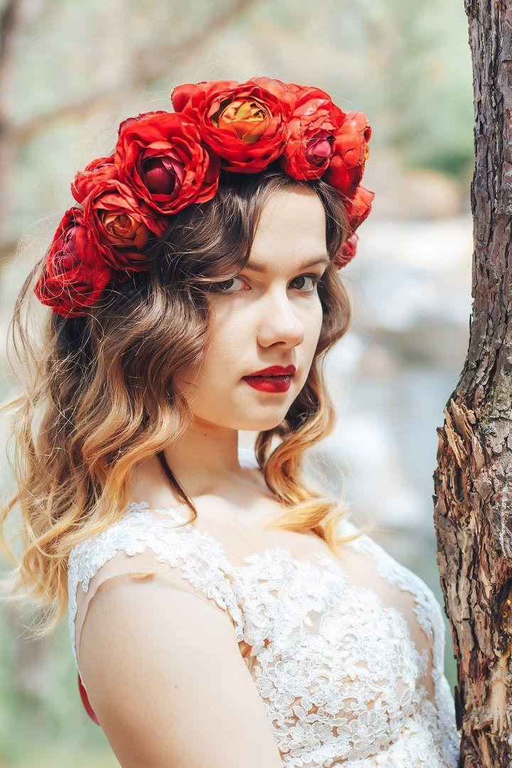 Floral crown wedding red bridal hair crown fall flower crown winter hair wreath flower head wreath headband  half wreath big red flowers by forBridal on Etsy