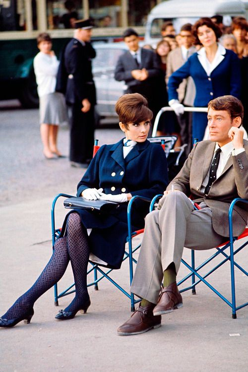 Audrey Hepburn, Peter O'Toole; in Paris; during production of William Wyler's How to Steal a Million (1966)