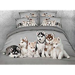 Adorable Puppies Soft Grey Duvet Covers King with 1 Bed Sheet and 2 Pillow Shams Bedding Sets,4 PCS Design Comforter Cover Sets King,Unique Modern Luxury Bedroom Sets