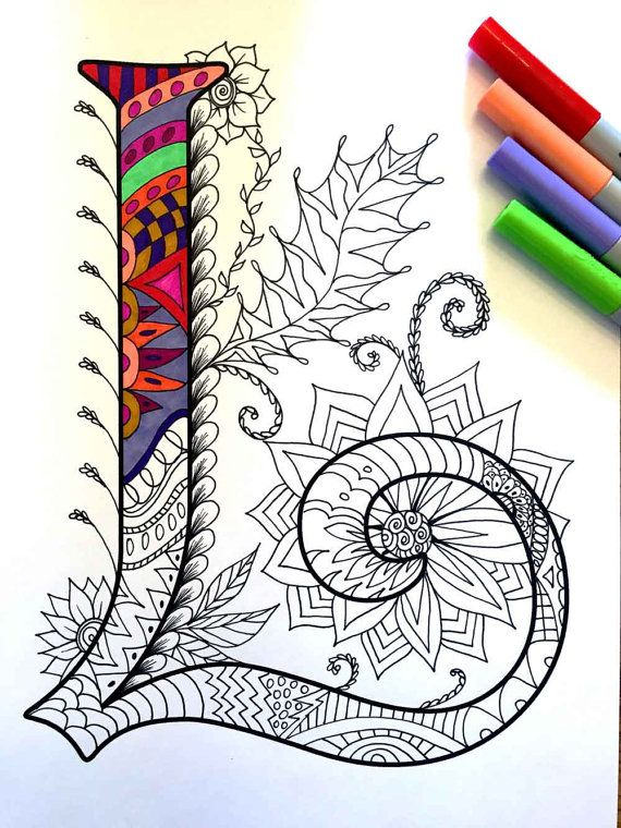 8.5x11 PDF coloring page of the uppercase letter L - inspired by the font Harrington  Fun for all ages.  Relieve stress, or just relax and have fun using your favorite colored pencils, pens, watercolors, paint, pastels, or crayons.  Print on card-stock paper or other thick paper (recommended).  Original art by Devyn Brewer (DJPenscript).  For personal use only. Please do not reproduce or sell this item.