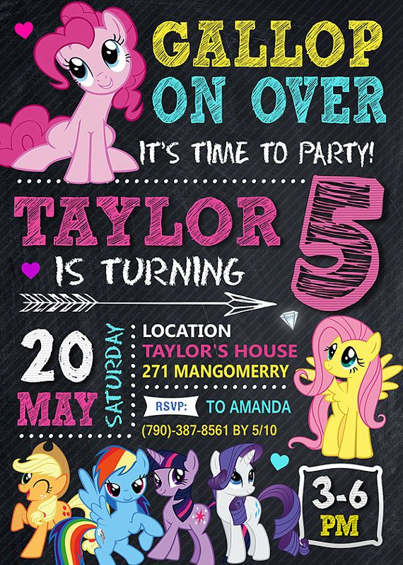 This listing includes 1 personalized printable photo birthday My Little Pony invitation (JPG file high resolution - 300 DPI). !!! You will NOT receive anything in the mail, this is for a DIGITAL file only. !!! You will receive a JPG file is printed via email, there is no physical item to be shipped. If you have any questions please message me.  HOW TO ORDER:  1. Add your item to cart.  2. When purchasing please put in NOTE TO SELLER this information: - Name - Age - Date of the Party - Time…