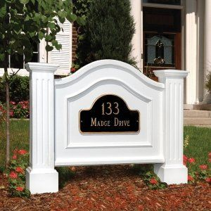 Mayne Nantucket One or Two-Sided Address Plaque Signs - White by Mayne. $139.99. About Mayne Posts Mayne has revolutionized the Curbside Industry with their unique line of New England Address Signs and Posts. They are constructed of roto-molded Polyethylene and backed by a 15 year limited warranty. The vinyl is very low maintenance and stays fresh looking for years. About the Nantucket Address Plaque Sign Series The Mayne address signs add a touch of charm with a sub...