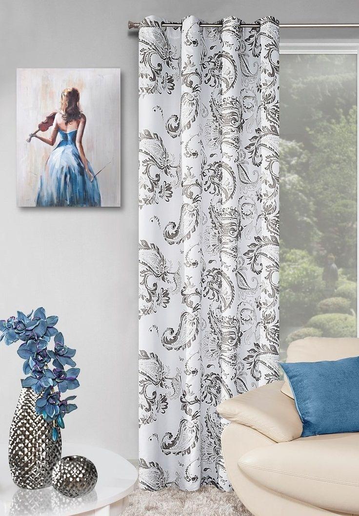 Zasłony gotowe do sypialni koloru białego z szarym ornamentem
