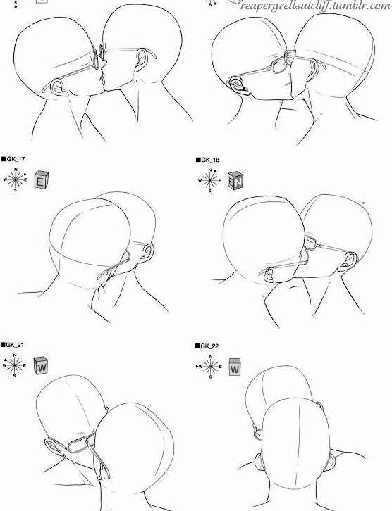 Kissing with Glasses  fucktonofanatomyreferences.tumblr.com