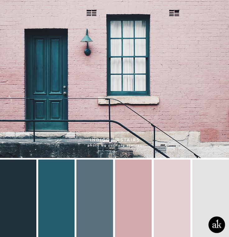 an indigo-door-inspired color palette // indigo blue, gray, pale pink, blush