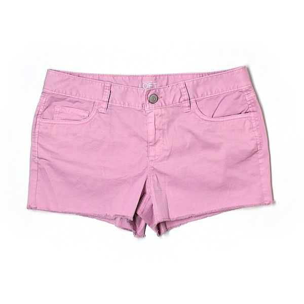 Pre-owned Ann Taylor LOFT Denim Shorts ($16) ❤ liked on Polyvore featuring shorts, light pink, light pink denim shorts, short jean shorts, jean shorts, denim shorts and denim short shorts