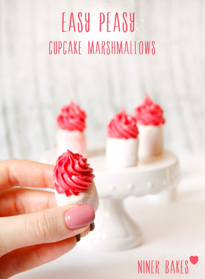 Easy peasy little tiny cupcake marshmallows with yummy buttercream cream cheese frosting recipe~ fun little appetizer/dessert for a shower, wedding, party or holiday!
