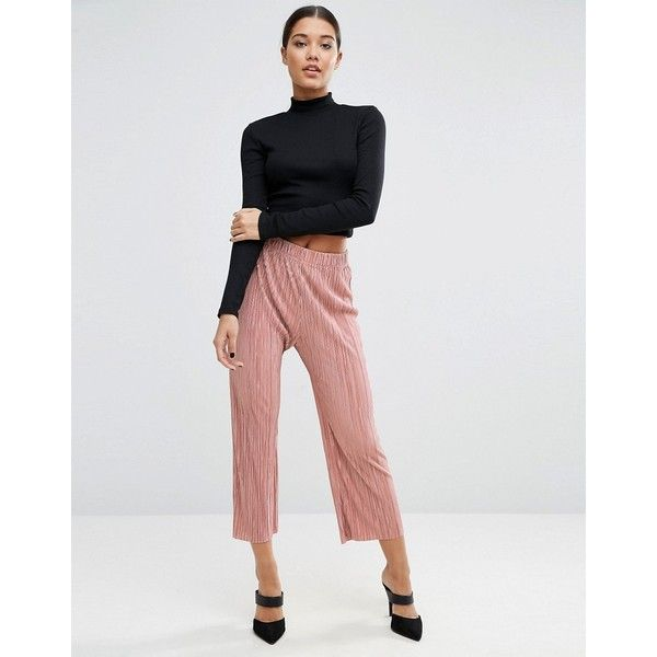 ASOS Wide Leg Pleated Plisse Trousers with Raw Hem ($37) ❤ liked on Polyvore featuring pants, pink, wide leg cropped pants, elastic waist pants, asos, relaxed pants and cropped pants