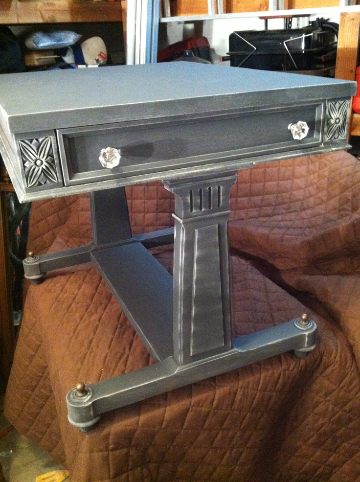 Graphite and French Linen ASCP Accent end table For