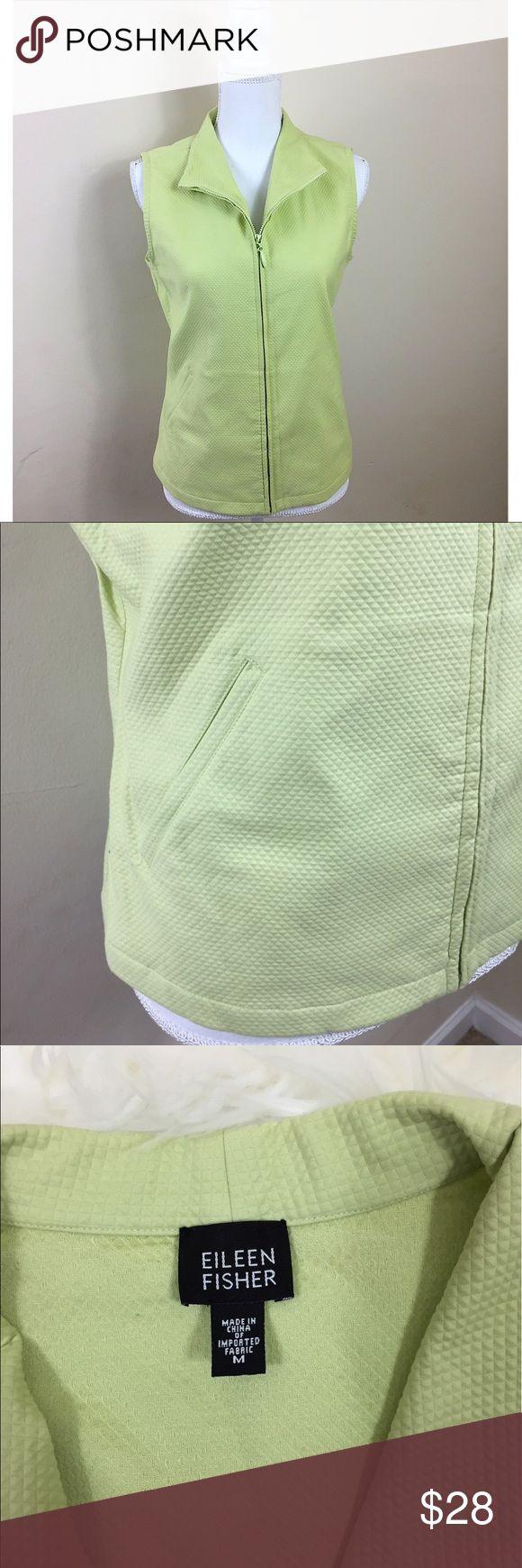"""{ Eileen Fisher } Green Zip-Up Vest Eileen Fisher light green zip up cotton vest. Has pockets. Lightweight. EUC. •Underarm to Underarm= 21"""" •Length= 24.5"""" Eileen Fisher Jackets & Coats Vests"""