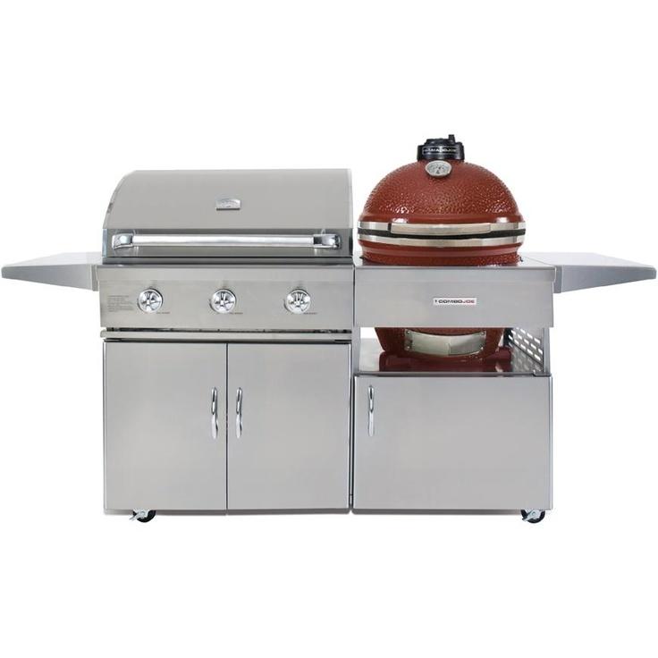 Kamado Joe ComboJoe 32Inch Natural Gas Grill And Red