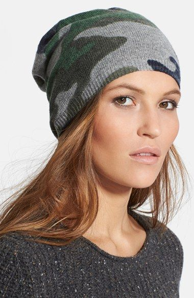 Autumn Cashmere Camo Cashmere Beanie available at #Nordstrom. Perfect for Fall!
