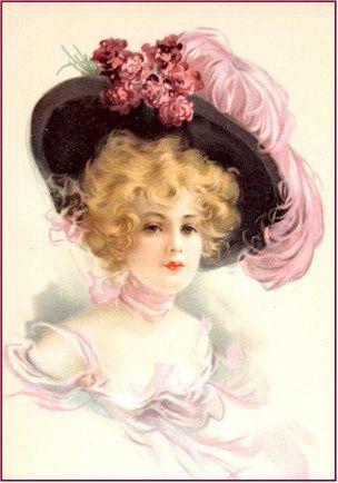 Femme de la BelleÉpoque coiffée d'un chapeau à plume rose