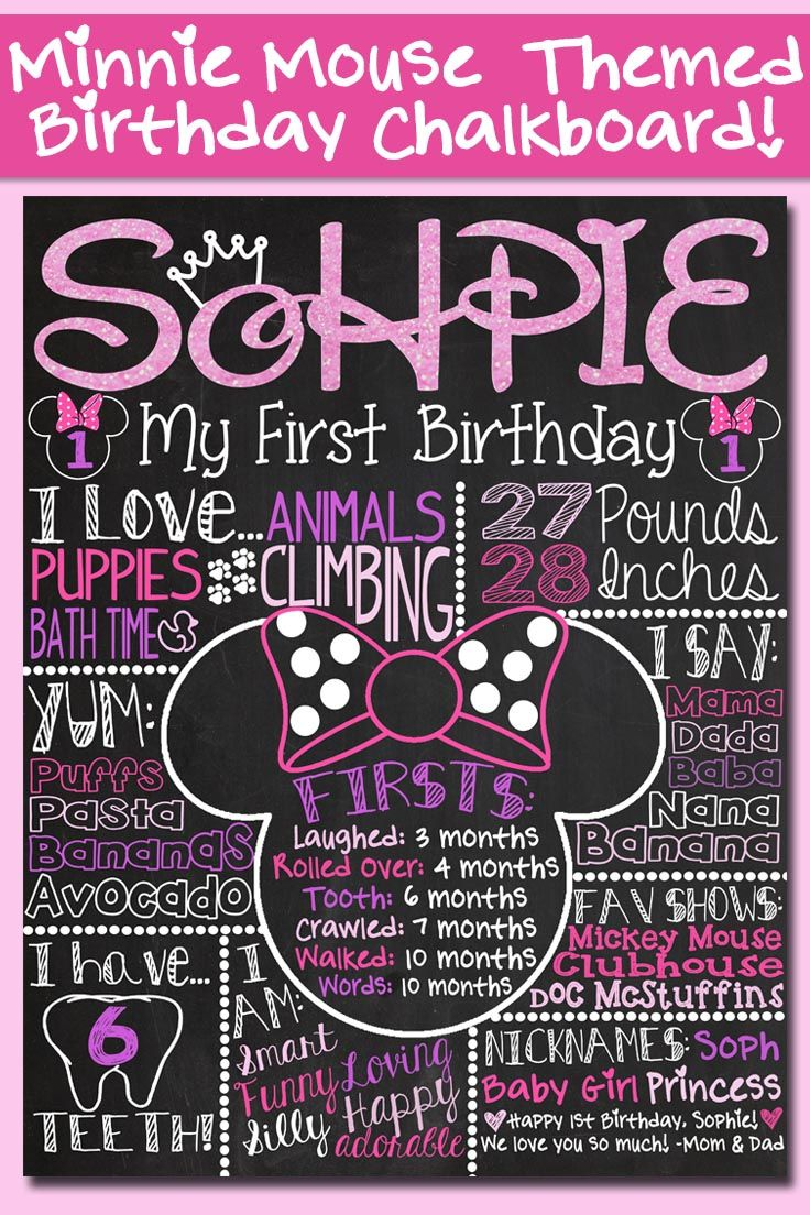 Pink glitter minnie mouse themed first birthday chalkboard poster via customchalkposters great for First birthday board template