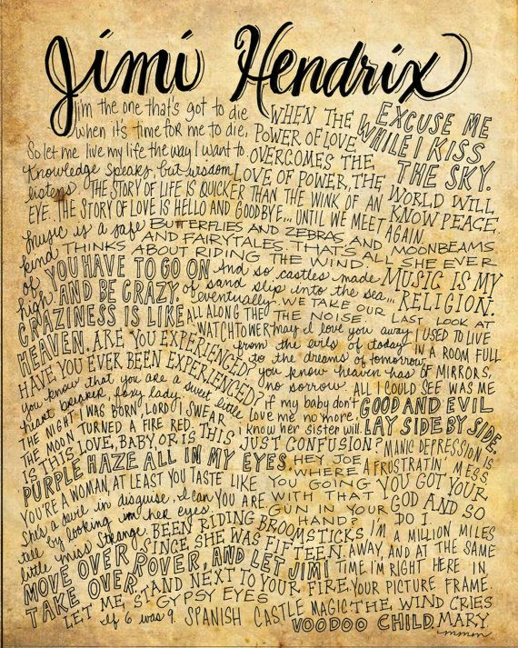 Jimi Hendrix Lyrics and Quotes - 8x10 handdrawn and handlettered print on antiqued paper rock music lyrics
