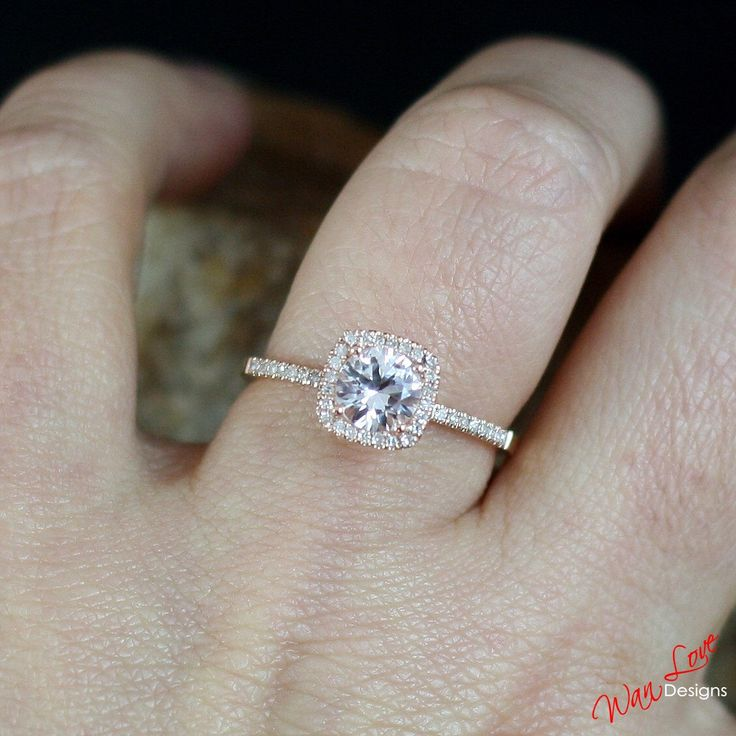 Light Pink Sapphire Diamond Cushion Halo Engagement Ring 1ct 6mm 14k 18k White Yellow Rose Gold-Platinum-Custom made siz-Wedding-Anniversary by WanLoveDesigns on Etsy https://www.etsy.com/listing/238331320/light-pink-sapphire-diamond-cushion-halo