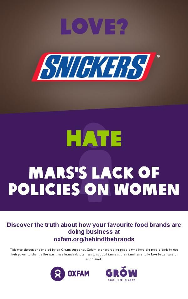 Love? Snickers, hate @Mars, Incorporated's lack of policies on women